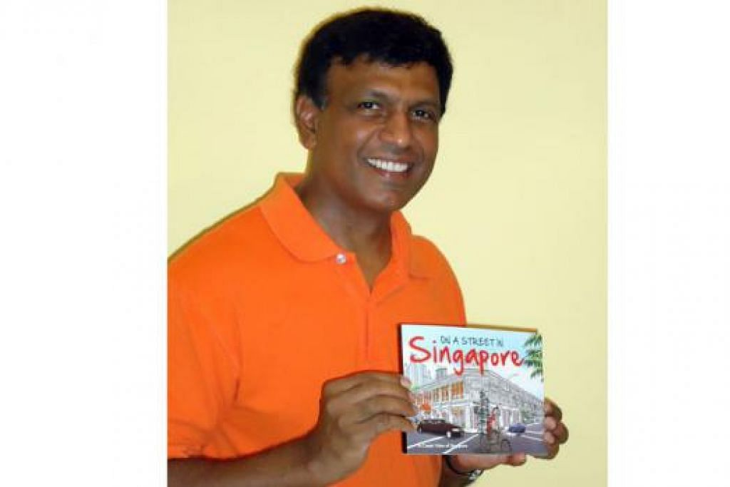 TERKENAL DENGAN 'MR KIASU': Encik James Suresh menunjukkan buku komik hasil karyanya bertajuk 'On A Street In Singapore'. Kini beliau menghasilkan sebuah lagi buku - 'Singapore in the 60s' - yang berkisar pada kehidupannya semasa membesar di Queenstown. - Foto fail