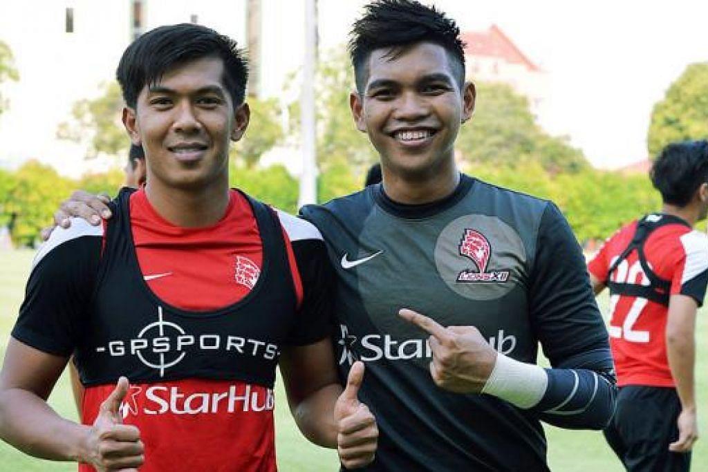 INGIN TIMBA PENGALAMAN: Khairul Amri (kiri) dan Izwan Mahbud berharap dapat menimba pengalaman beraksi di Trofi Barclays Asia. - Foto fail