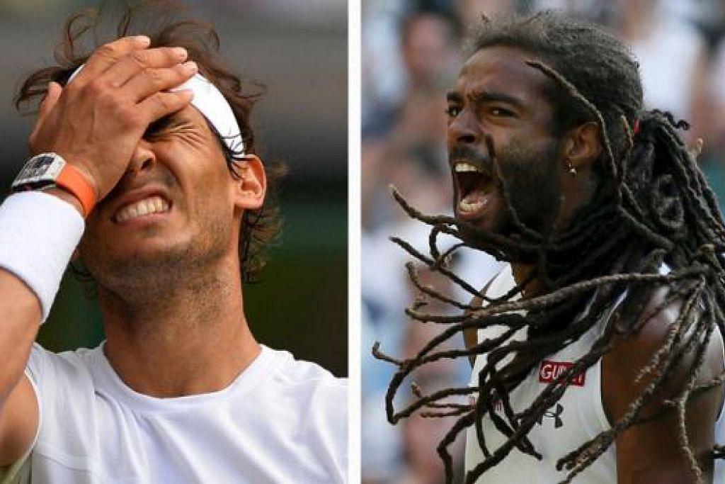 ENGGAN BERPUTUS ASA: Walau mengalami keputusan mengejut dan memalukan, tewas kepada pemain nombor 102 dunia Dustin Brown (kanan), Nadal (kiri) enggan berputus asa dan menyifatkan kekalahan itu sekadar 'detik' buruk dalam kerjayanya. Ini kali keempat berturut-turut Nadal kecundang di peringkat awal Wimbledon. - Foto-foto AFP, REUTERS