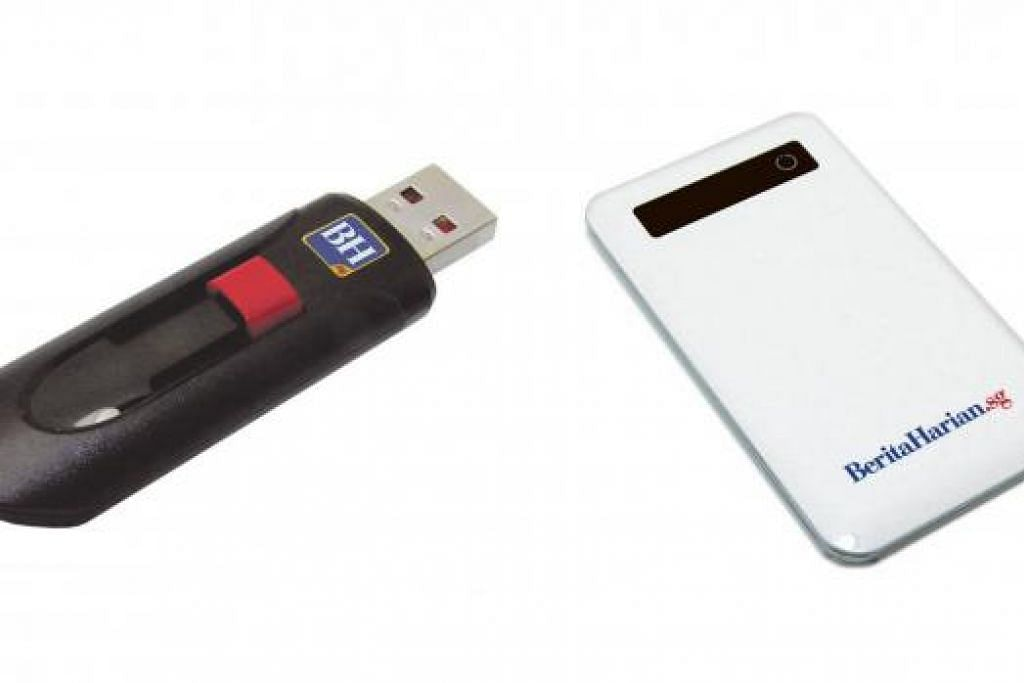 HADIAH ISTIMEWA: Pembaca yang melanggani akhbar BH berpeluang mendapatkan pemacu pena USB dan pengecas telefon bijak. – Foto fail