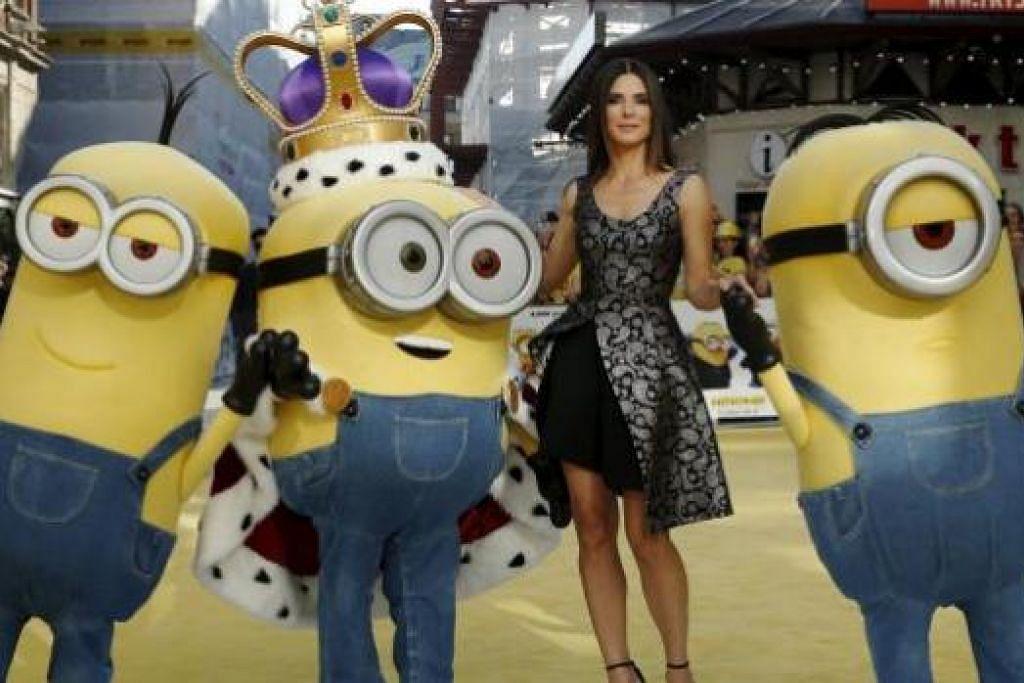 PERANAN BARU: Dalam filem Minions, Sandra Bullock memainkan watak jahat. - Foto REUTERS