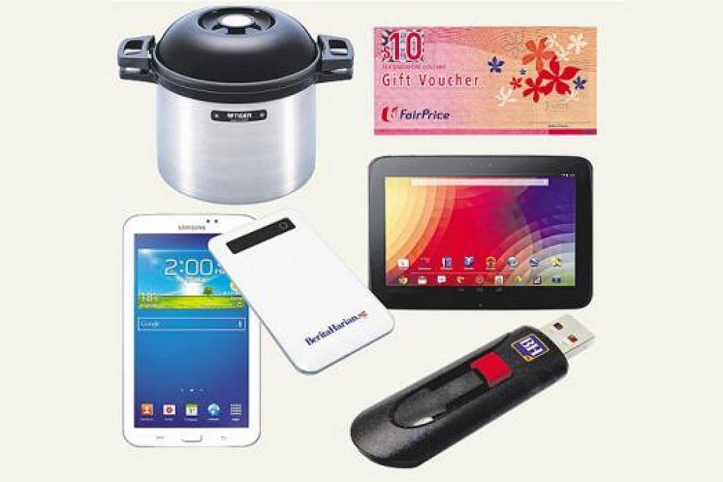 PASTI MENANG: Cabutan bertuah melanggan BH membolehkan anda memenangi alat pengecas telefon bijak 'powerbank', pemacu pena USB; alat pemasak magic cooker; Samsung Galaxy Tab 3 serta Samsung Google Nexus 10. - Foto hanya ilustrasi