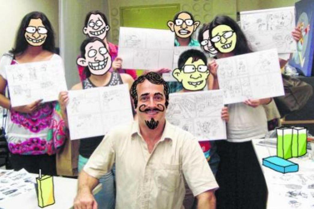 SESI BENGKEL: Salah satu bengkel melukis kartun yang dibimbing Encik Iskander Walen (depan) dengan para pesertanya yang memaparkan muka kartun, di Institut Lukisan Kartun Singapura. - Foto-foto INSTITUT LUKISAN KARTUN SINGAPURA