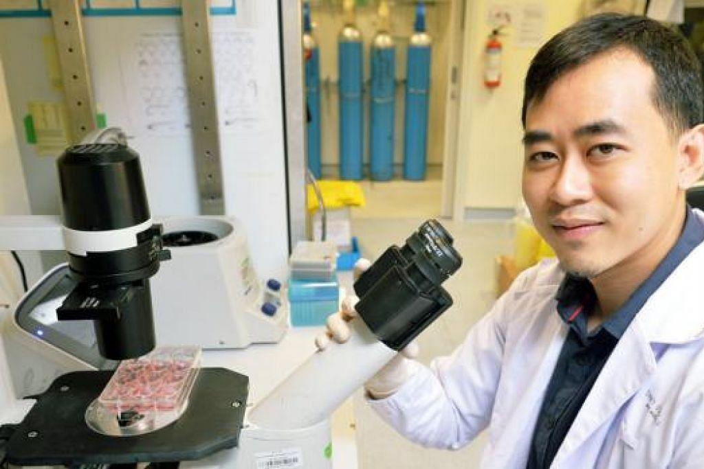 BERBAKAT BESAR: Encik Muhd Nadzim, yang sudah pun berjinak-jinak dalam bidang kajian, berharap menghasilkan alat yang boleh membantu dalam kajian gen nanti. - Foto KHALID BABA