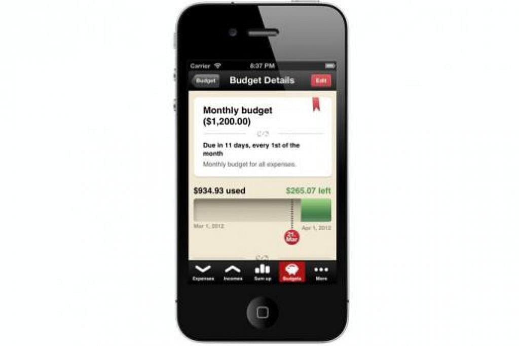 MUDAH DIGUNAKAN: Aplikasi Toshl Finance menawarkan antara lain ciri membantu pengguna melakar bajet. - Foto TOSHL FINANCE