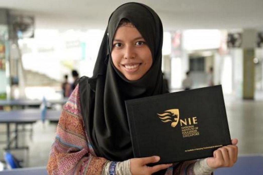 KONGSI PENGALAMAN: Cik Nur Syafinah Zainal sering mengongsi kisah keluarganya yang pernah hidup susah bersama pelajar bagi menggalak mereka untuk terus berusaha dan tidak berputus asa.