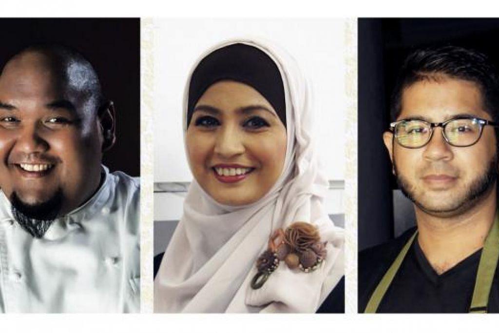 KEMBALIKAN WARISAN MELAYU: Tiga cef yang bakal sajikan hidangan ialah (dari kiri) Cef Bob, Cef Siti Mastura dan Cef Iskander. - Foto AKAR