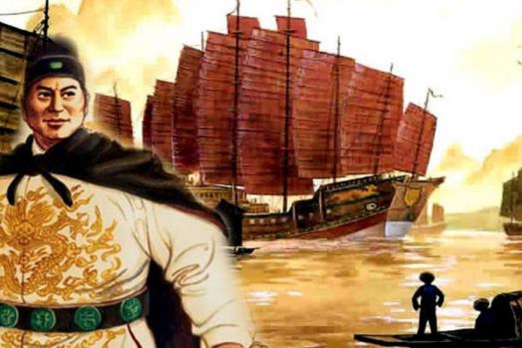 GAGAH DAN PINTAR: Lukisan Laksamana Cheng Ho, seorang Cina Islam berasal dari Yunnan, China, telah mengunjungi Melaka pada 1405 Masihi dan membawa bersamanya para pengkaji mengenai bahasa dan pelbagai aspek rantau Kepulauan Melayu. - Foto MUZIUM BUDAYA CHENG HO, MELAKA