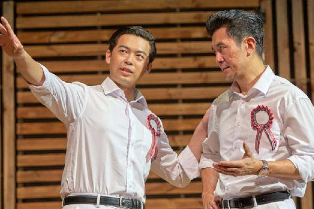 MENARIK: Padanan Adrian Pang (kanan) yang membawa watak Encik Lee Kuan Yew, dan Benjamin Chow yang melakonkan watak Lim Chin Siong sungguh menyerlah dalam muzikal 'The LKY Musical'.