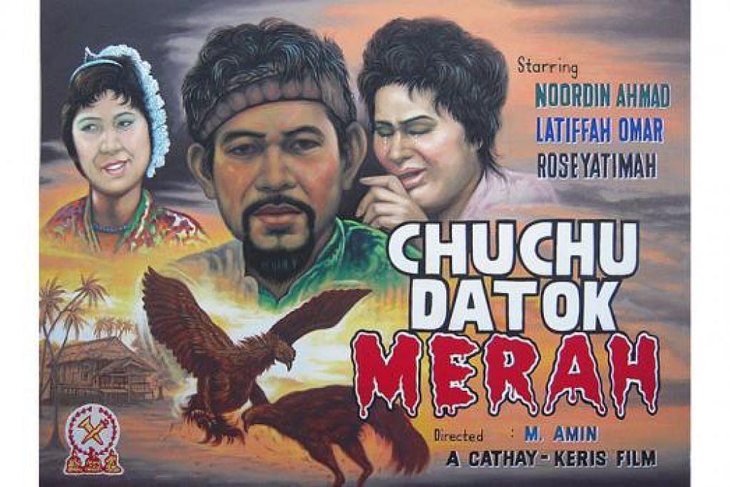 SUSURI JALAN KENANGAN: Beginilah wajah poster filem lama 'Chuchu Datok Merah', arahan M. Amin, yang akan ditayang secara percuma sebagai sambutan SG50 pada 20 Ogos ini. - Foto-foto ihsan ANG HAO SAI
