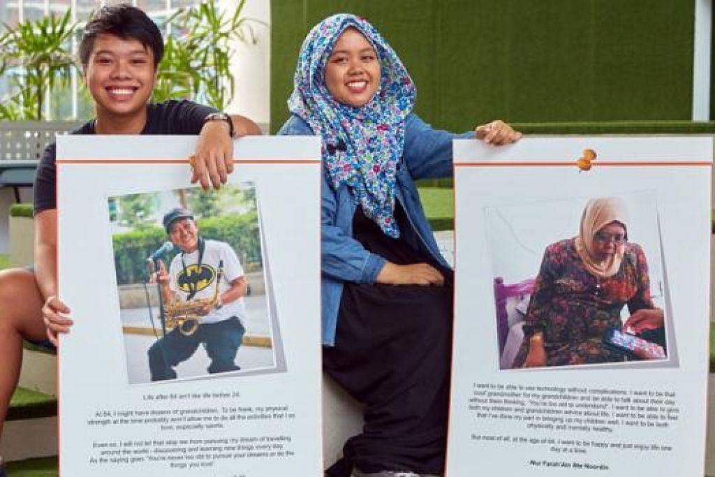 WARGA SENJA DIKAGUMI: Dua pelajar Diploma Pengajian Pengurusan Gerontologi (Isu Penuaan) di Politeknik Temasek, Encik Zdulfika Ahakasah dan Cik Nur Farah 'Ain Noordin, kagum dengan semangat positif warga senja, Encik Peter Nam dan Cik Rahmah Saidi, yang fotonya mereka rakam bagi peraduan 'When I'm 64'. - Foto POLITEKNIK TEMASEK