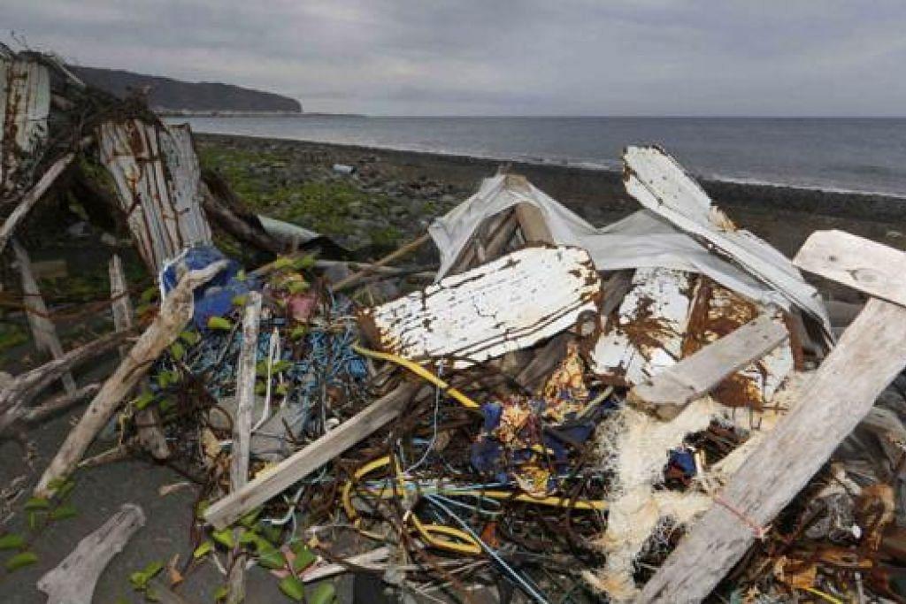 DIHANYUTKAN KE PANTAI: Beberapa kerangka termasuk objek plastik ditemui di kawasan pantai di Pulau Reunion - kawasan pencarian bahan bukti bagi pesawat yang hilang, MH370. - Foto-foto REUTERS