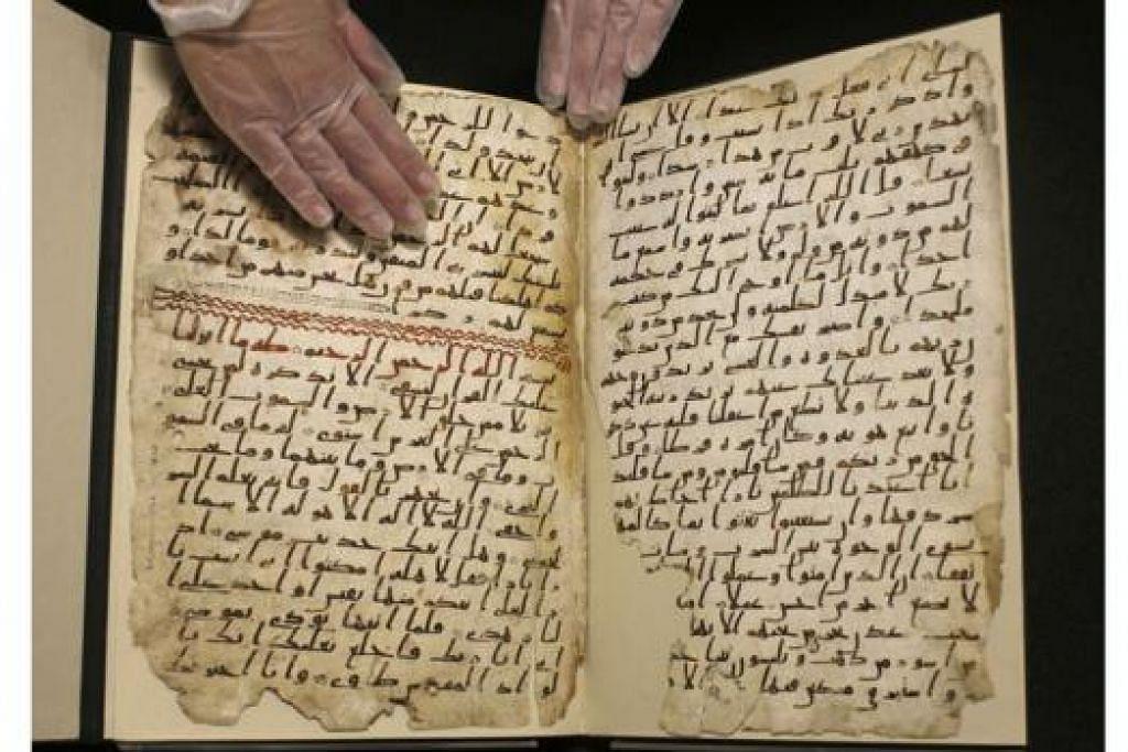 CEBISAN Al-QURAN TERTUA: Penemuan terbaharu di Universiti Birmingham tidak mengejutkan umat Islam yang yakin akan ketulenan kitab suci mereka tetapi merubah kesangsian sarjana agama. - Foto REUTERS