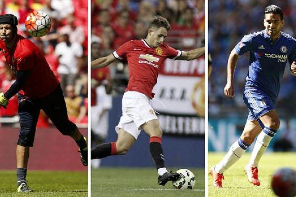 (Dari kiri) MASIH BOLEH DIHARAPKAN: Kehadiran penjaga gawang veteran, Petr Cech, memantapkan benteng Arsenal yang berharap bersaing bagi mahkota liga musim baru ini. ; PERLU FOKUS: Pemain berbakat Belgium, Adnan Januzaj, perlu menyerlah jika tidak mahu ditunjuk 'pintu keluar' di Old Trafford.; PELUANG KEDUA: Penyerang sensasi Colombia, Radamel Falcao, mendapat peluang kedua untuk menyerlah dalam LIga Perdana apabila menyarungi jersi Chelsea musim ini. - Foto-foto REUTERS