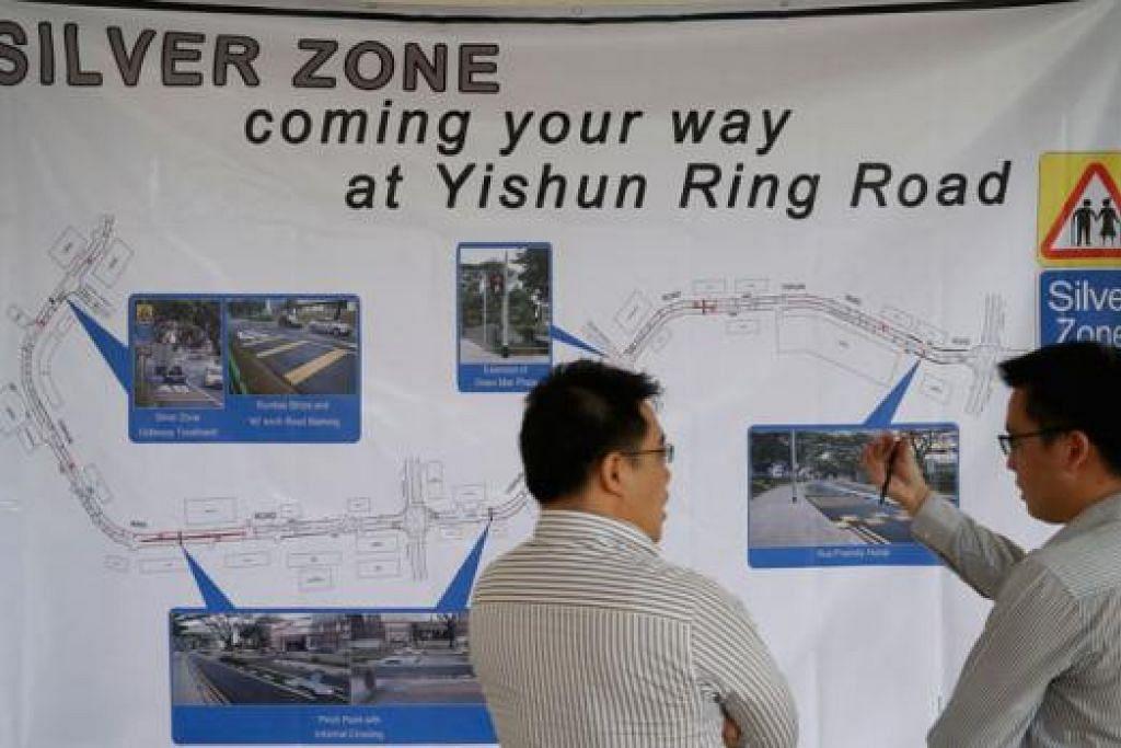 ZON PERAK: Peta Yishun Ring Road yang menunjukkan 'zon perak' yang akan dilaksanakan sebagai sebahagian daripada program 'zon perak' LTA bagi memastikan jalan raya selamat untuk warga emas. - Foto THE STRAITS TIMES
