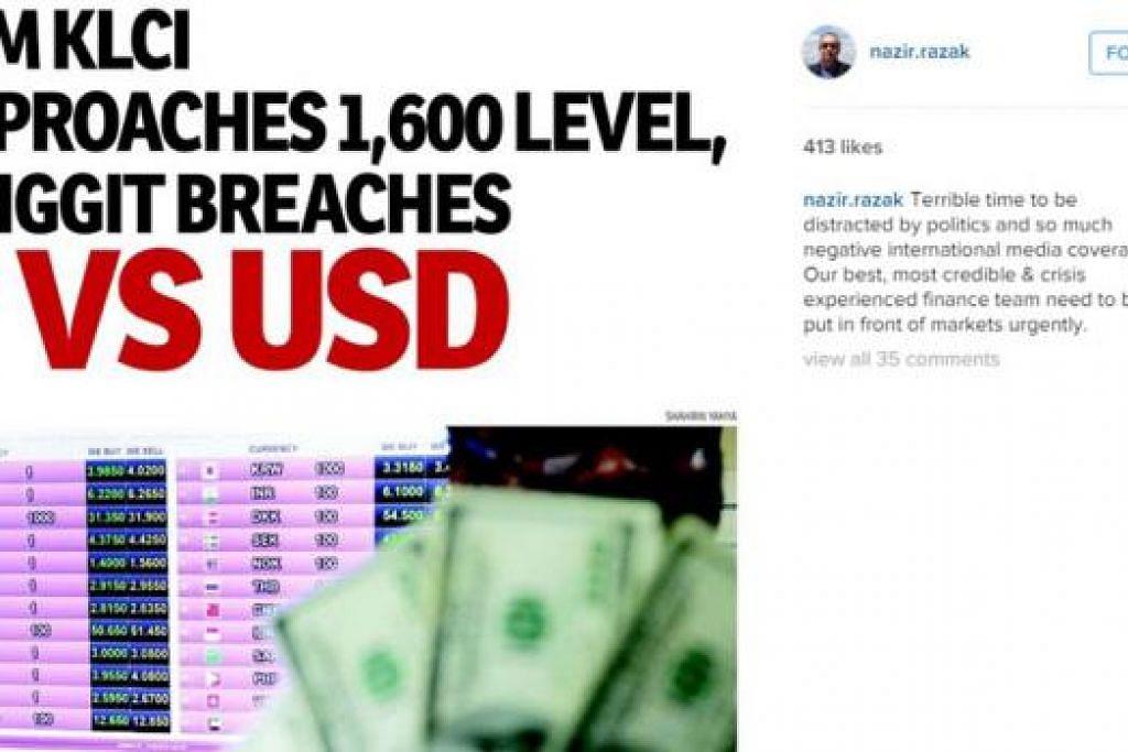 MENJADI KEPRIHATINAN: Datuk Seri Nazir melahirkan keprihatinan apabila nilai mata wang ringgit merosot hingga melebihi RM4 bagi AS$1. - Foto INTERNET