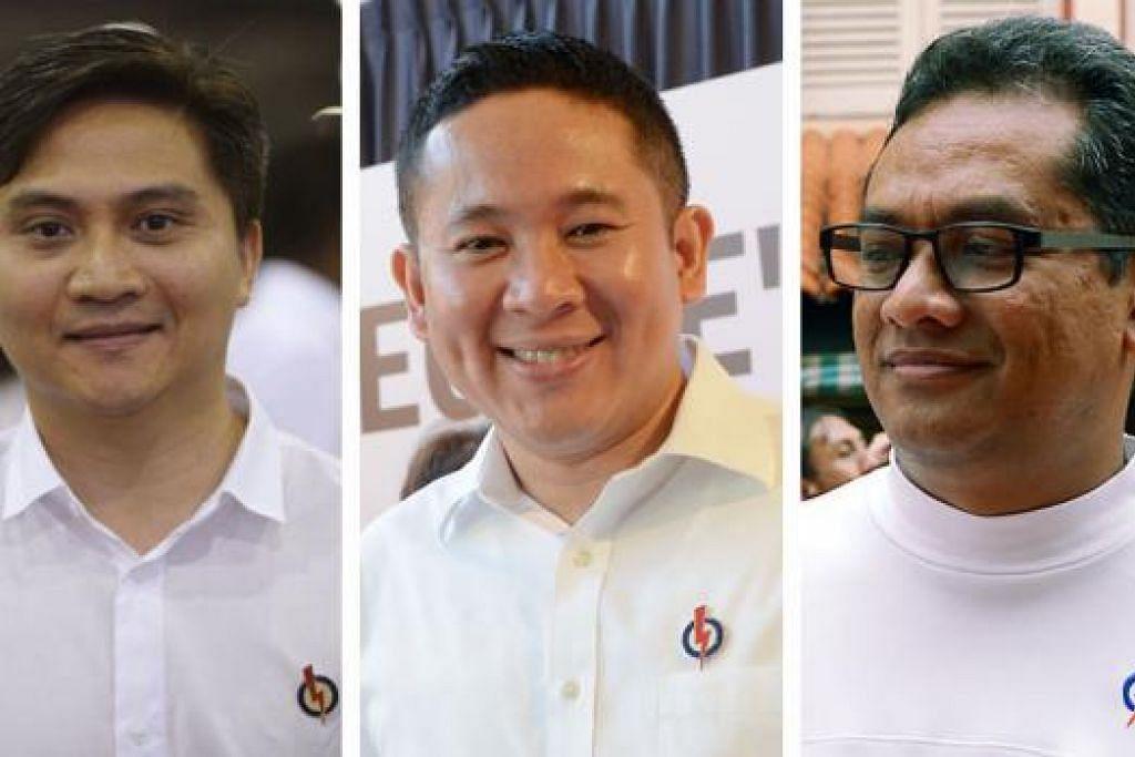 BERUPAYA: Dr Yaacob yakin calon PAP baru, Encik Saktiandi Supaat (kiri) dan Encik Amrin Amin (tengah), mampu bantu parti faham hati Melayu. Jasa Encik Zainudin Nordin (kanan) pula tidak dilupai. - Foto-foto fail