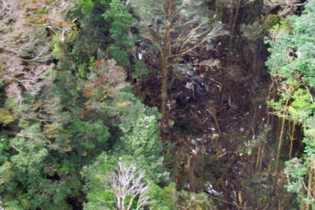 TAPAK NAHAS: Bangkai pesawat Trigana dijumpai bertaburan di kawasan pergunungan Oksibil, wilayah Papua, oleh penduduk tempatan. - Foto AFP