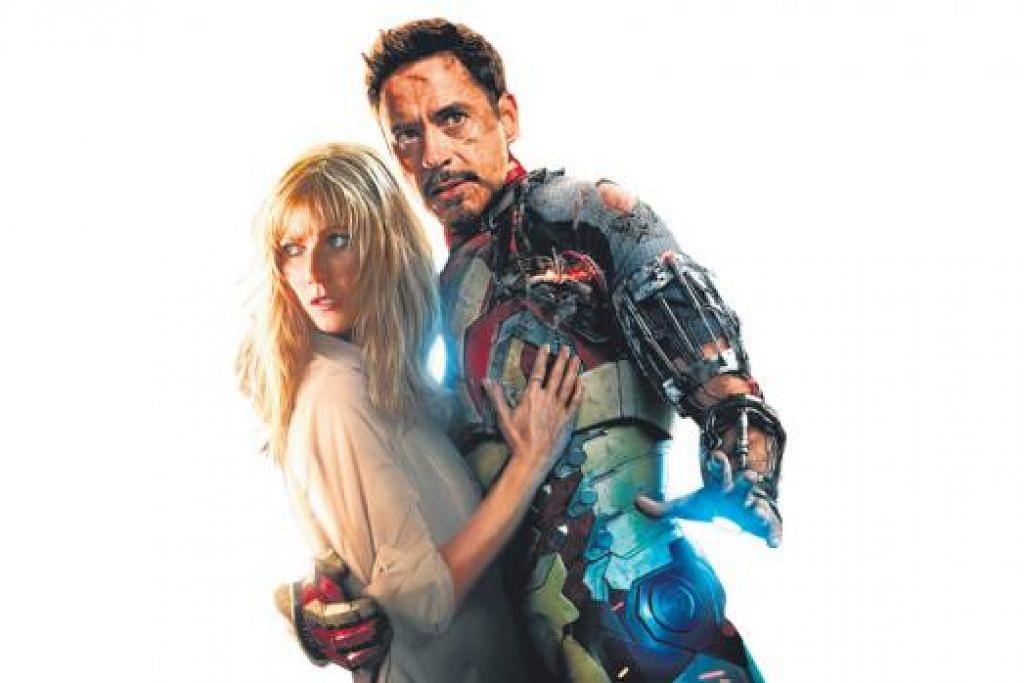 NASIB KINI BERUBAH: Kalau dahulu beliau merupakan penagih dadah dan sering keluar masuk penjara, kini Robert Downey Jr merupakan aktor yang meraih pendapatan tertinggi. Beliau kelihatan bersama Gwyneth Paltrow dalam filem 'Iron Man 3'. - Foto WALT DISNEY PICTURES