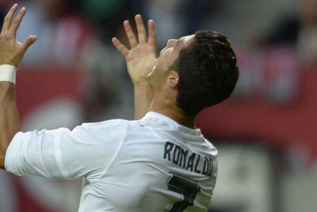 HAMPA: Bintang Real, Cristiano Ronaldo, hampa terlepas peluang jaringan. - Foto AFP
