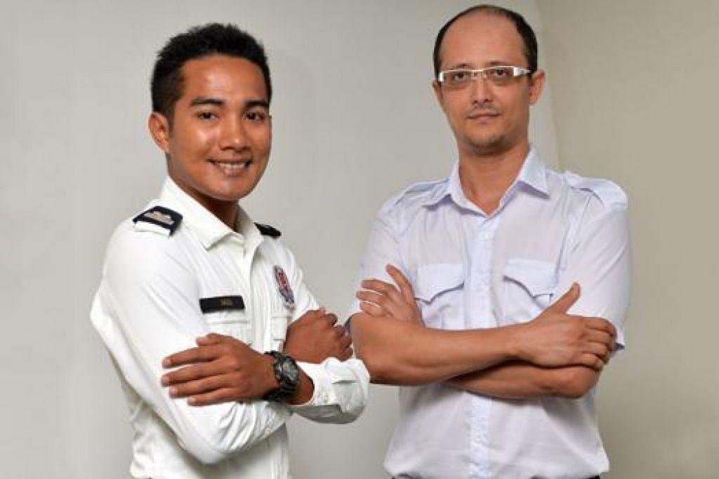TUNJUKKAN KEBERANIAN DAN INTEGRITI: Staf Sarjan Fadli (kiri) dan Encik Syeik Riyadh menerima Sijil Pujian Pesuruhjaya Polis - Foto M.O. SALLEH