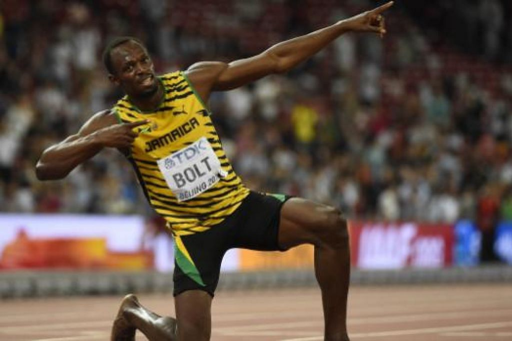 AKSI RAJA PECUT: Jaguh pecut dunia, Usain Bolt, bergaya di akhir perlumbaan 200 meter lewat malam tadi.