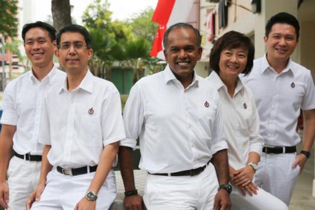 PASUKAN PAP NEE SOON: (Dari kiri) Encik Louis Ng, Dr Muhammad Faishal Ibrahim, Encik K. Shanmugam, Cik Lee Bee Wah dan Encik Henry Kwek membentuk pasukan PAP yang akan bertanding di GRC Nee Soon. - Foto-foto THE STRAITS TIMES