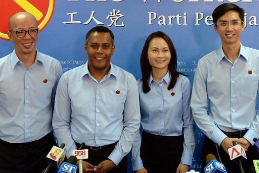 CALON BARU WP: (dari kiri) Encik Terence Tan, Encik Firuz Khan, Cik Cheryl Loh dan Encik Luke Koh bakal bertanding dalam pilihan raya umum bulan depan. - Foto THE STRAITS TIMES