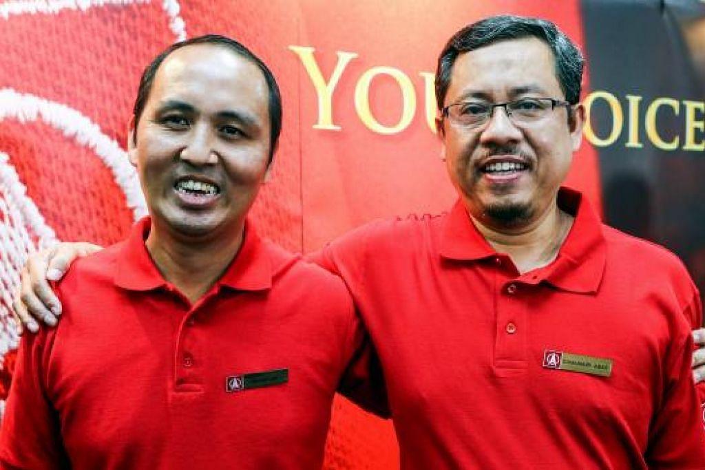 DUA CALON SDP: Encik Damanhuri Abas (kanan) dan Encik Bryan Lim merupakan calon terbaru yang diperkenalkan SDP semalam untuk bertanding dalam pilihan raya umum akan datang. - Foto ZAO BAO