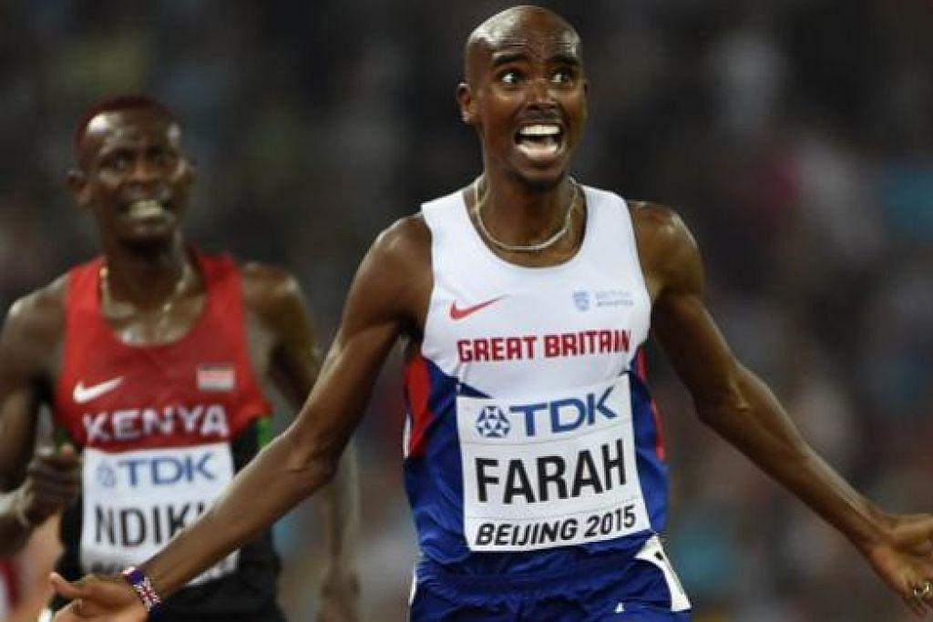UNGGUL: Jaguh Britain, Mo Farah, dengan wajah penuh azam dan semangat, memecut ke garisan penamat perlumbaan 5,000 meter.