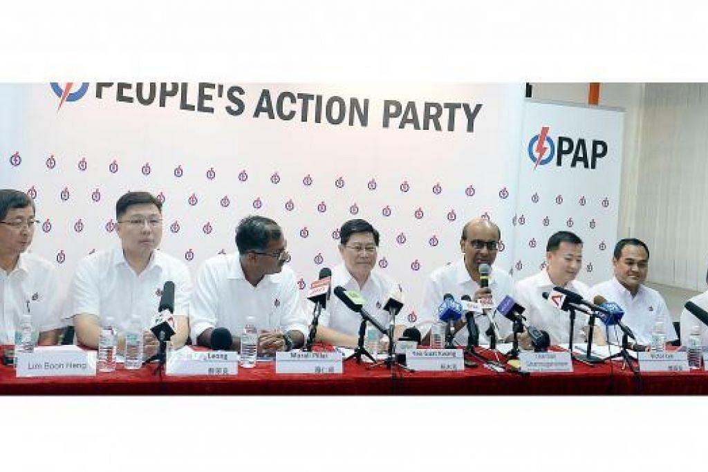 KERJA KERAS: Encik Tharman Shanmugaratnam (empat dari kanan) berkata setiap daripada calon PAP yang bakal bertanding di GRC Aljunied - (dua dari kiri) Encik Chua Eng Leong, Encik Muralidharan Pillai, Encik Yeo Guat Kwang, Encik Victor Lye, Encik Shamsul Kamar Mohamed Razali - mengenali rapat penduduk di kawasan undi itu. Bersama mereka ialah Encik Lim Boon Heng (kiri) dan Cik Chan Hui Yuh (Pengerusi PAP Cawangan Serangoon). - Foto TAUFIK A. KADER