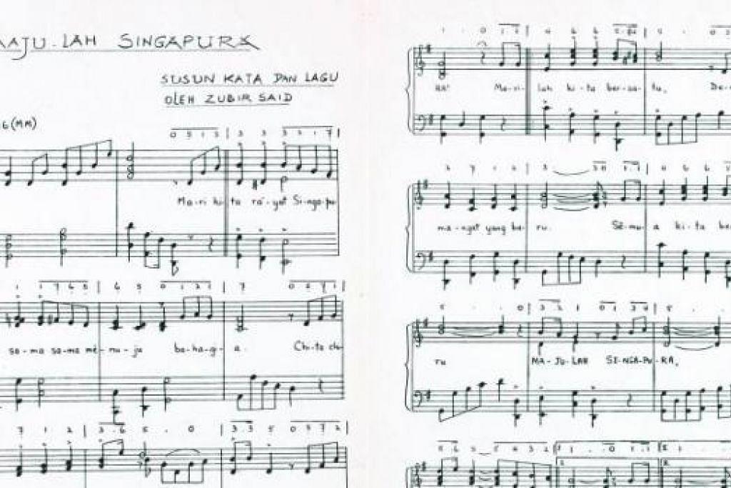 LAGU KEBANGSAAN: Skor muzik dan lirik 'Majulah Singapura' yang digubah Zubir Said dan dialunkan secara rasmi pada 3 Disember 1959. - Foto fail
