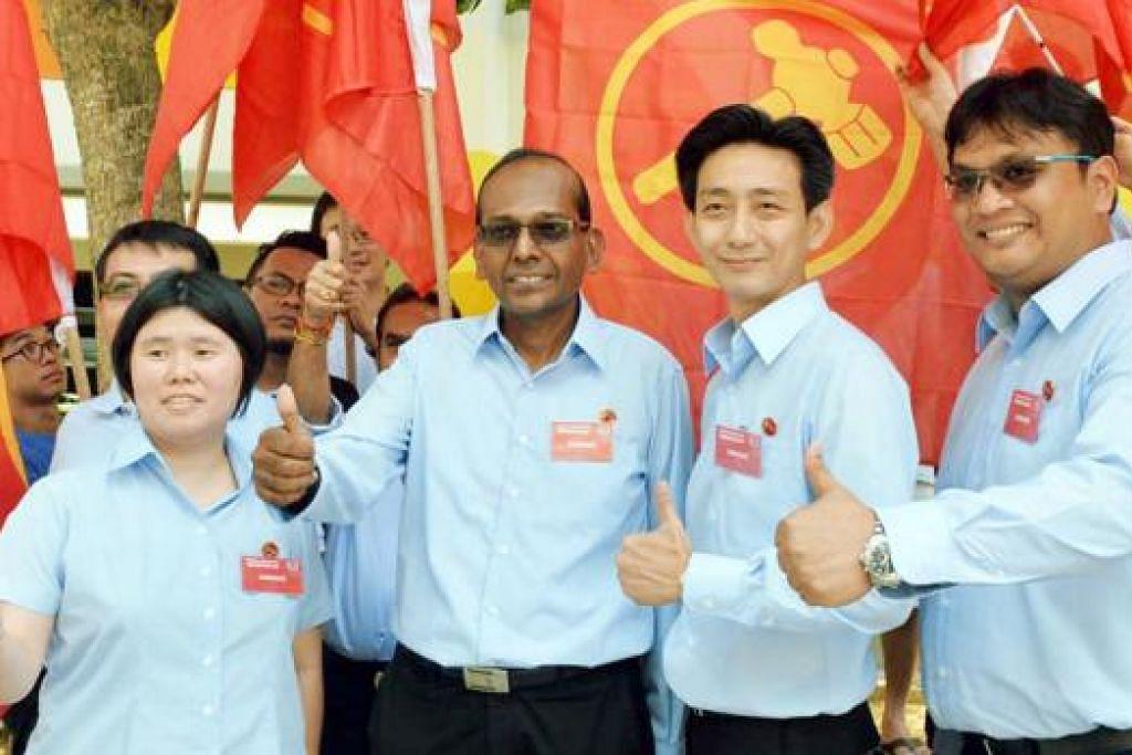 SAINGAN SENGIT: Calon WP (dari kiri) Cik Frieda, Encik Somasundaram, Encik Sim dan Encik Redzwan tidak gentar saingan dari PAP. - Foto KHALID BABA