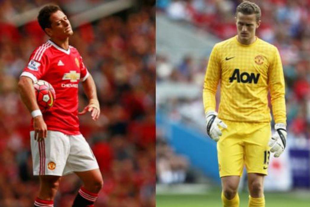 BERPINDAH KELAB: Dua pemain Manchester United ini, Javier Hernandez (kiri) dan Anders Lindegaard, kini berpindah ke kelab Bayer Leverkusen dan West Bromwich Albion. – Foto REUTERS