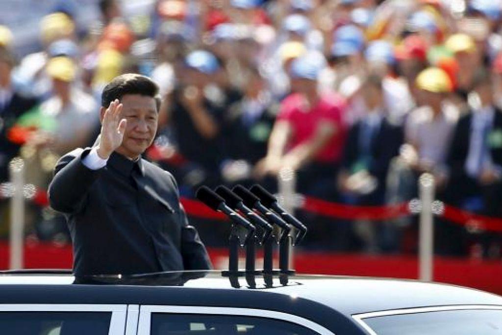 Presiden Xi Jinping di sambutan ulang tahun ke-70 tamatnya Perang Dunia Kedua di Beijing pada 3 Sep. Gambar REUTERS