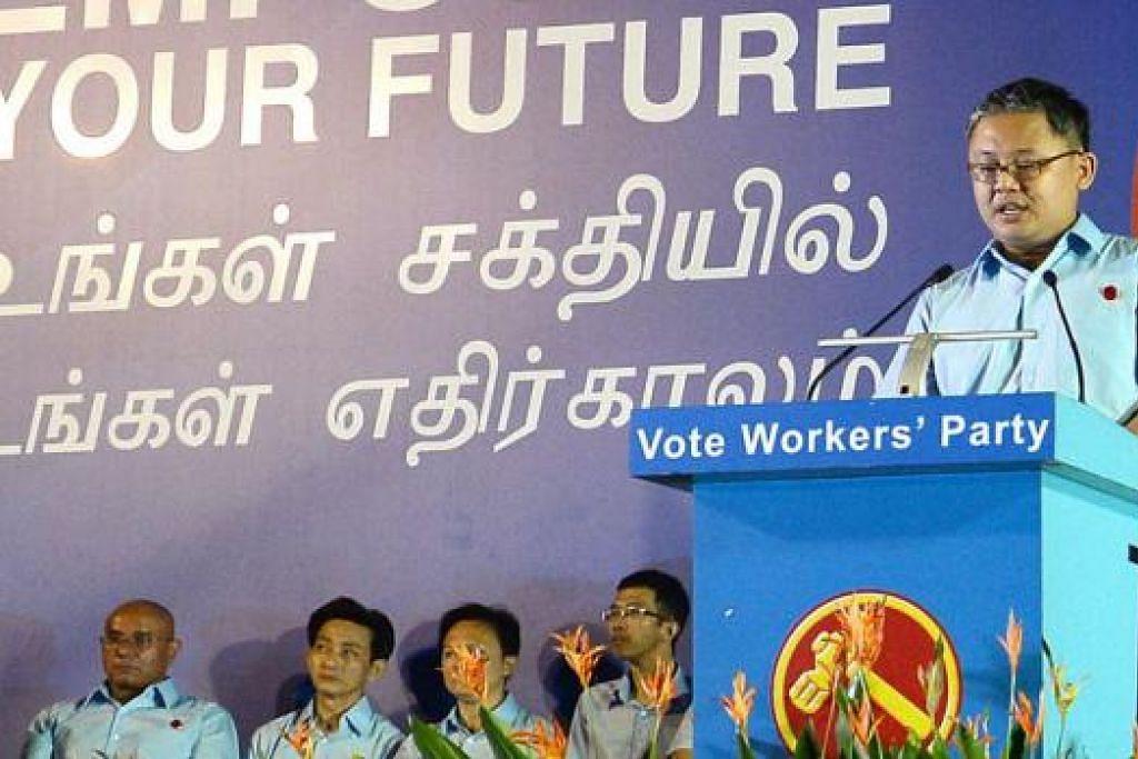 RAPAT PERTAMA: Parti Pekerja mengadakan rapat pilihan raya di Hougang.