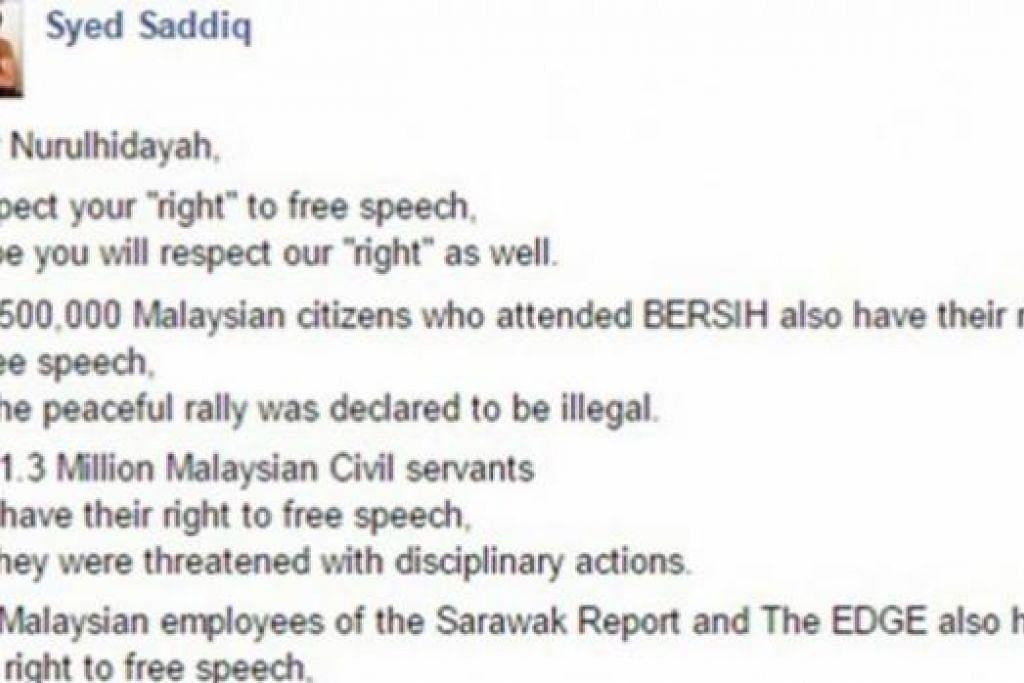 MENJADI PERDEBATAN: Bekas Pendebat Terbaik Asia, Syed Saddiq Syed Abdul Rahman, meminta Cik Nurulhidayah menghormati hak orang lain juga untuk bersuara. - Foto-foto INTERNET
