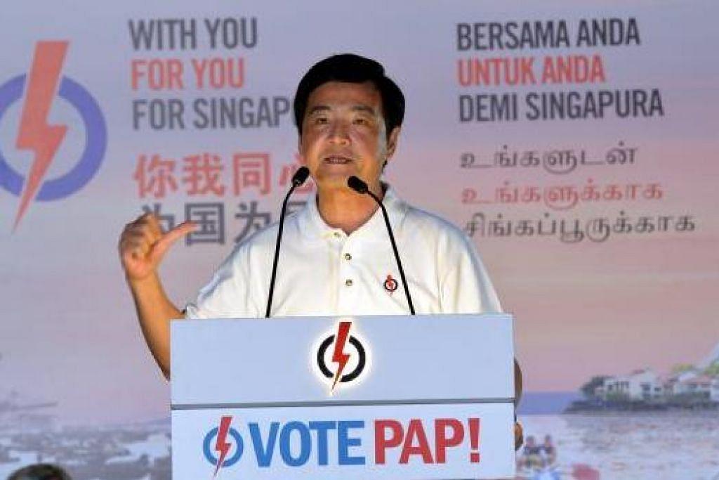 USAH PENTINGKAN DIRI SENDIRI: Encik Heng menegaskan bahawa undian rakyat yang akan dilakukan esok adalah undian untuk masa depan Singapura.