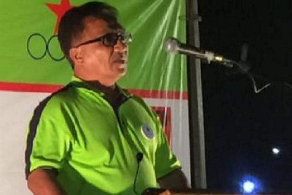 UTARA ISU CPF: Calon SDA bagi GRC Pasir Ris-Punggol, Encik Abu Mohamed, menyentuh tentang isu Tabung Simpanan Pekerja (CPF) dan jumlah penduduk dalam rapat yang diadakan di Taman Pasir Ris semalam. - Foto HAIRIANTO DIMAN