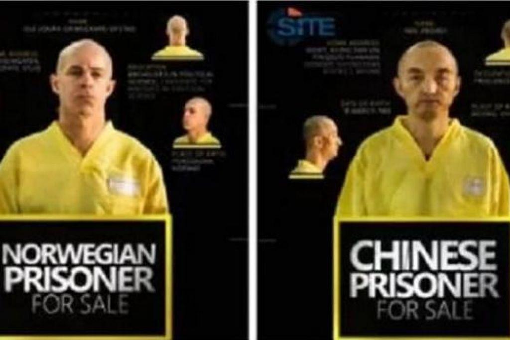 JADI TEBUSAN: Laman yang mendakwa dimiliki majalah ISIS, Dabiq, menunjukkan gambar tebusan yang ditawan - seorang warga Norway, Encik Ole-Johan Grimsgaard-Ofstad (kiri), dan seorang warga China, Encik Fan Jinghui (kanan). - Foto INTERNET