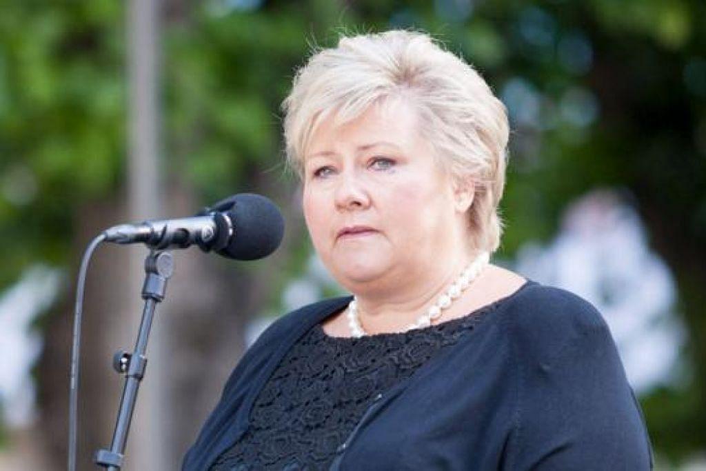 TOLAK TUNTUTAN MILITAN: Perdana Menteri Norway, Cik Erna Solberg, berkata pembayaran tebusan akan meningkatkan lagi risiko warga Norway yang lain yang mungkin diculik. - Foto REUTERS