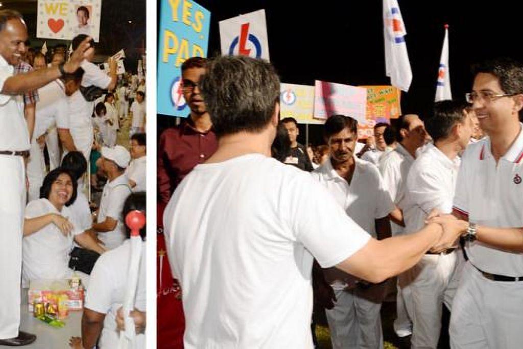 DAPAT MANDAT KUKUH: Pasukan PAP di GRC Nee Soon yang diterajui Encik Shanmugam (kiri) dan turut dianggotai Profesor Madya Dr Muhammad Faishal Ibrahim mendapat undi lebih besar berbanding pilihan rayaa lalu. - Foto JOHARI RAHMAT