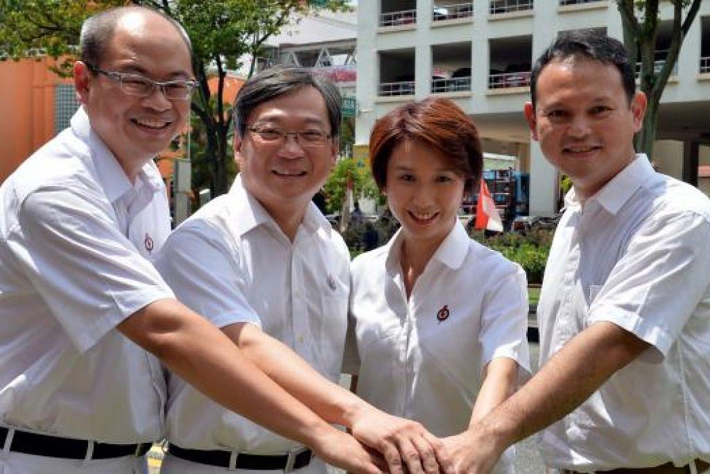 Calon PAP bagi GRC Chua Chu Kang ialah (dari kanan) Encik Zaqy Mohamad, Cik Low Yen Ling, Encik Gan Kim Yong, dan calon baru, Encik Yee Chia Hsing. Gambar M.O.SALLEH