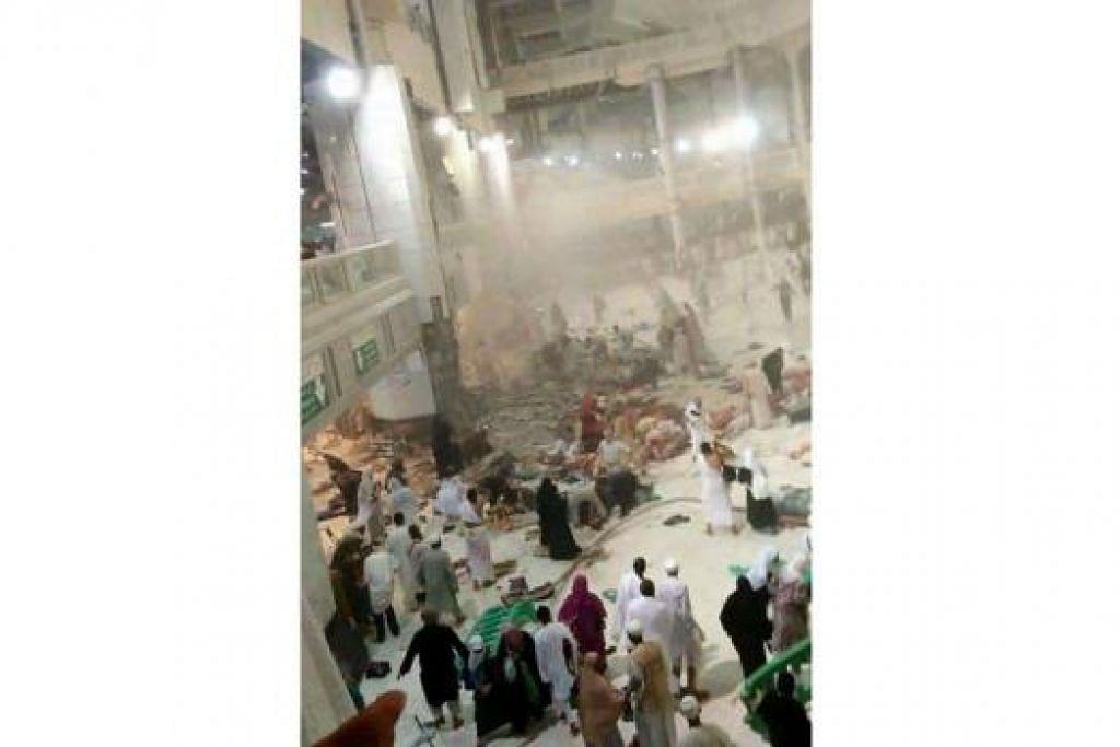 BENCANA: Ramai jemaah yang berada tidak jauh dari kawasan Sai di Masjidil Haram terkorban dan ratusan lagi cedera akibat ditimpa kren yang tumbang dan serpihan tembok yang pecah.