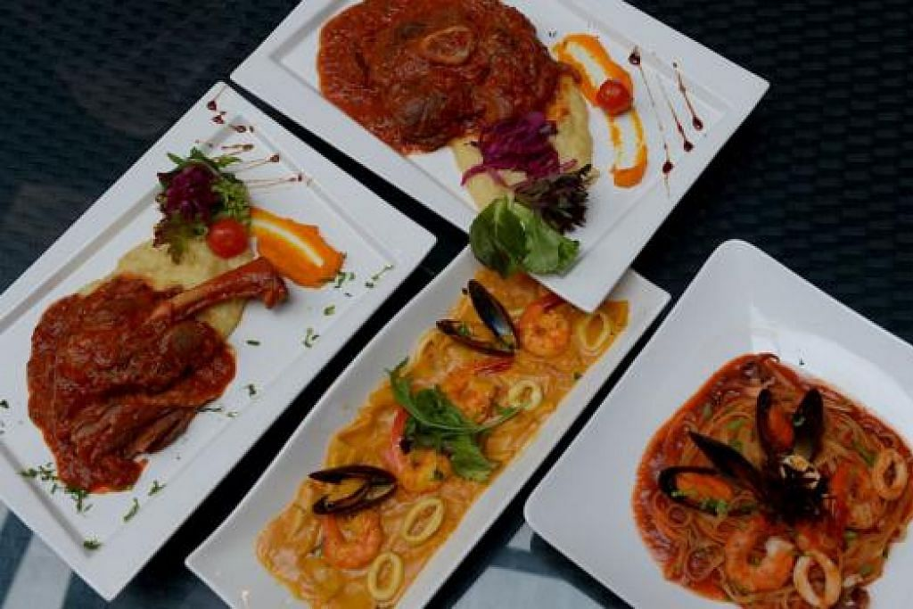 SAJIAN ENAK DAN ADA DAYA PENARIK SENDIRI: Hidangan bistro Savoury menyediakan makanan asli Italy. Antaranya ialah (mengikut putaran jam) sajian 'Ossobuco', Tomyam Seafood Linguine, Stacci dan Lamb Shank. - Foto-foto TUKIMAN WARJI