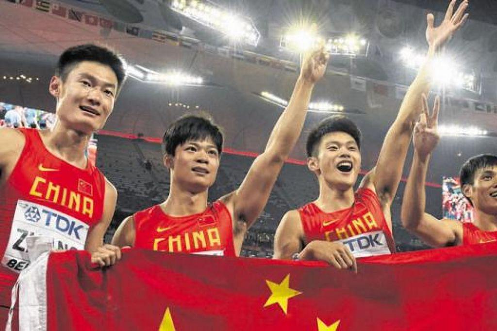 Pasukan 4x100 meter China. - Foto AFP
