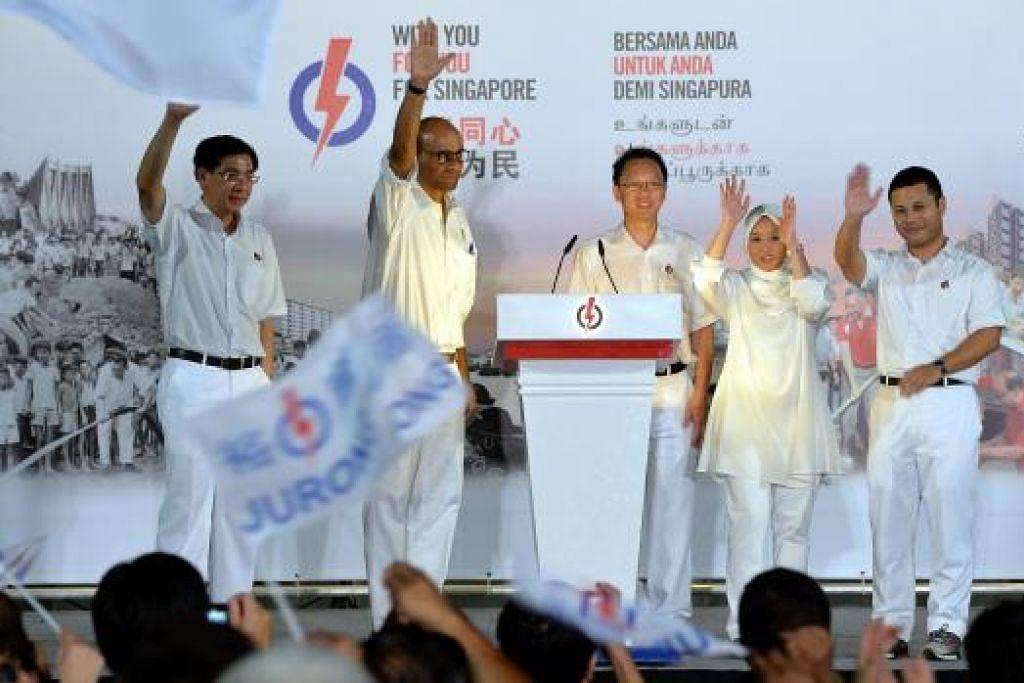 Pasukan PAP bagi GRC Jurong mencatatkan kemenangan terbesar dengan meraih 79.3 peratus undi. Gambar M.O Salleh