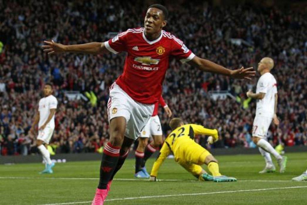 GOL SULUNG DALAM PENAMPILAN PERTAMA: Penyerang Manchester United, Anthony Martial, meraikan penampilan sulungnya dengan kelab tersebut dengan menjaringkan gol ketiga pasukannya. - Foto REUTERS