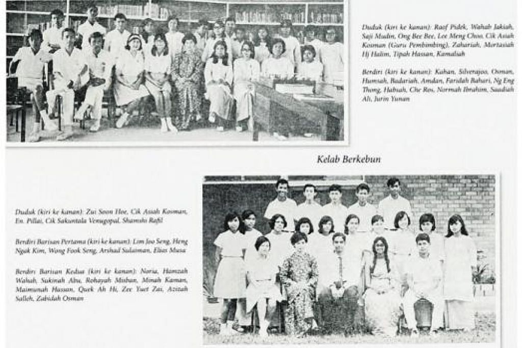 PERISTIWA TAHUN 1968: Kumpulan pustakawan (gambar atas) dan para anggota Kelab Berkebun (gambar bawah) TKSS.