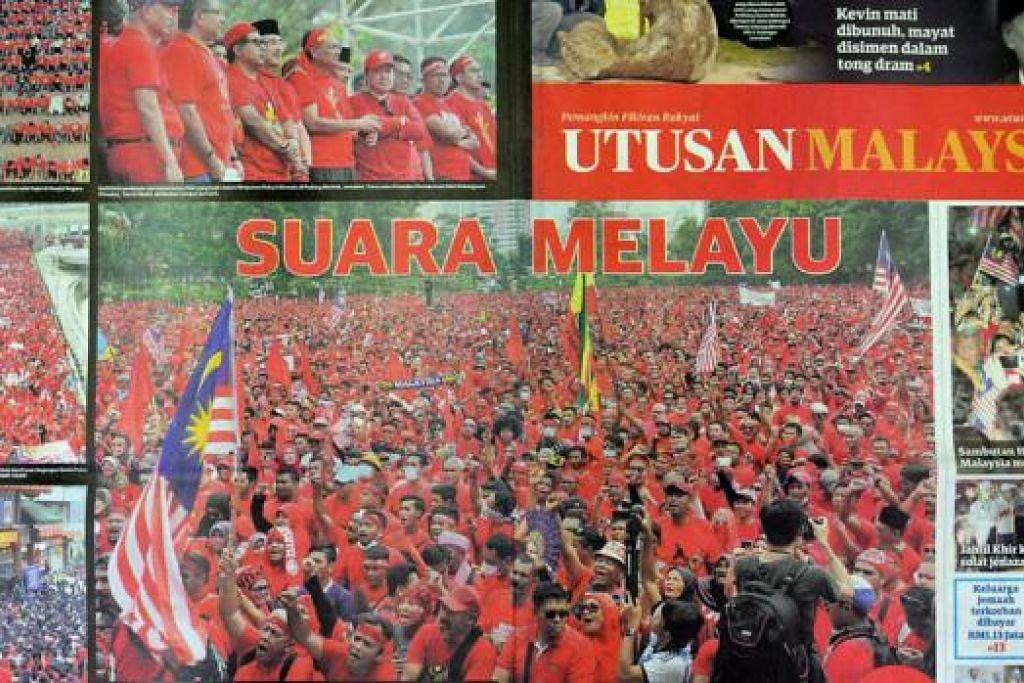PERSOAL LIPUTAN: Akhbar Utusan Malaysia yang pro-Umno telah mempersoalkan laporan yang dibuat oleh portal berita Malaysiakini dan The Malaysian Insider yang dikatakan berat sebelah. - Foto UTUSAN MALAYSIA